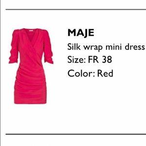 Maje hot pink silk faux-wrap mini dress, 38